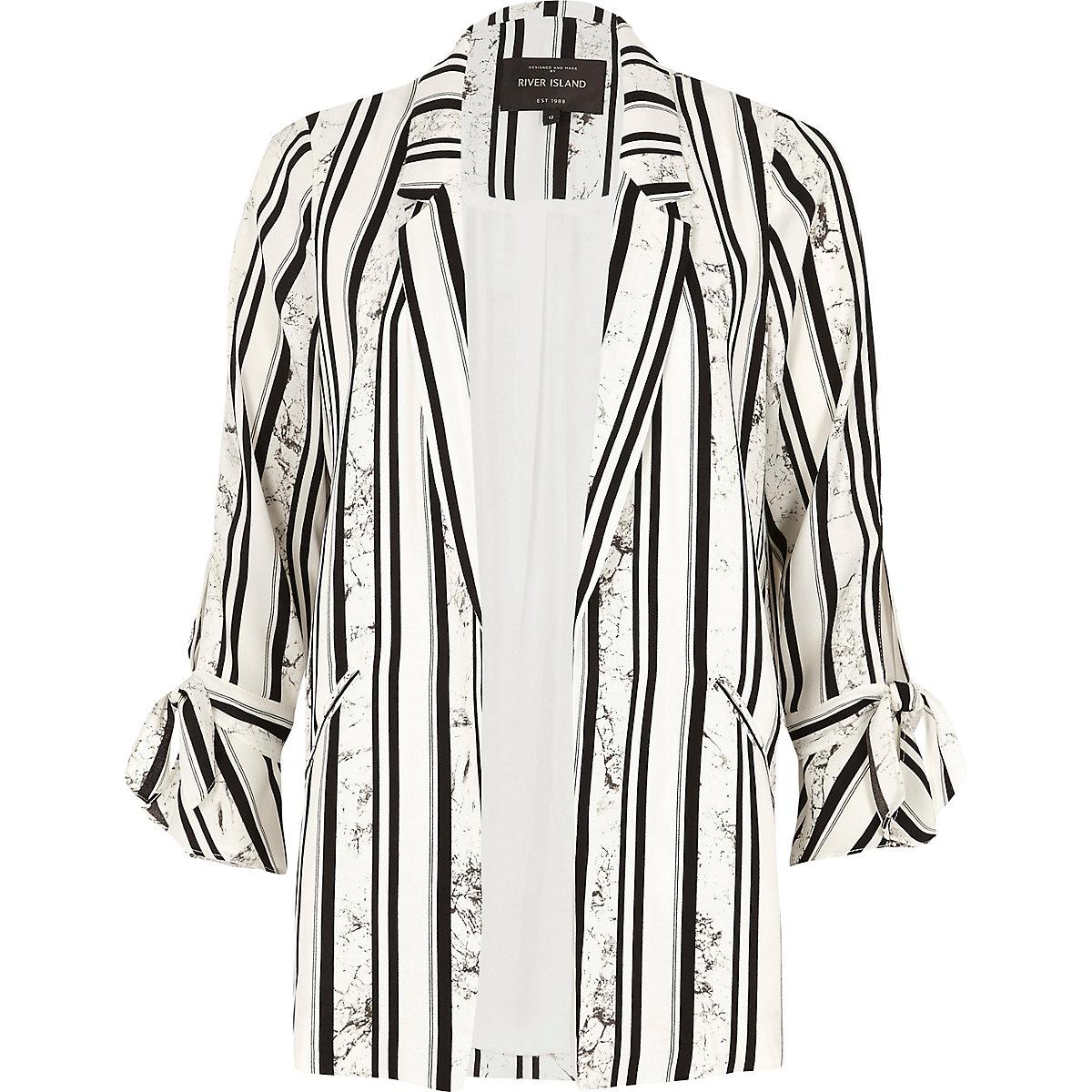 White stripe marble print tie sleeve blazer