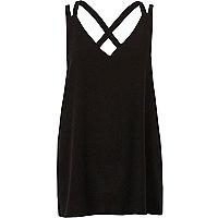 Black double strap cross back vest