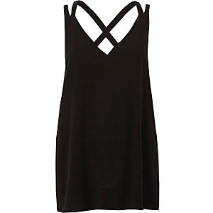 Black double strap cross back tank
