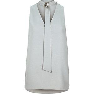 Grey tie ring sleeveless top