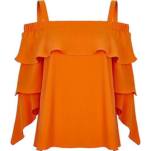 Orange frill sleeve bardot top