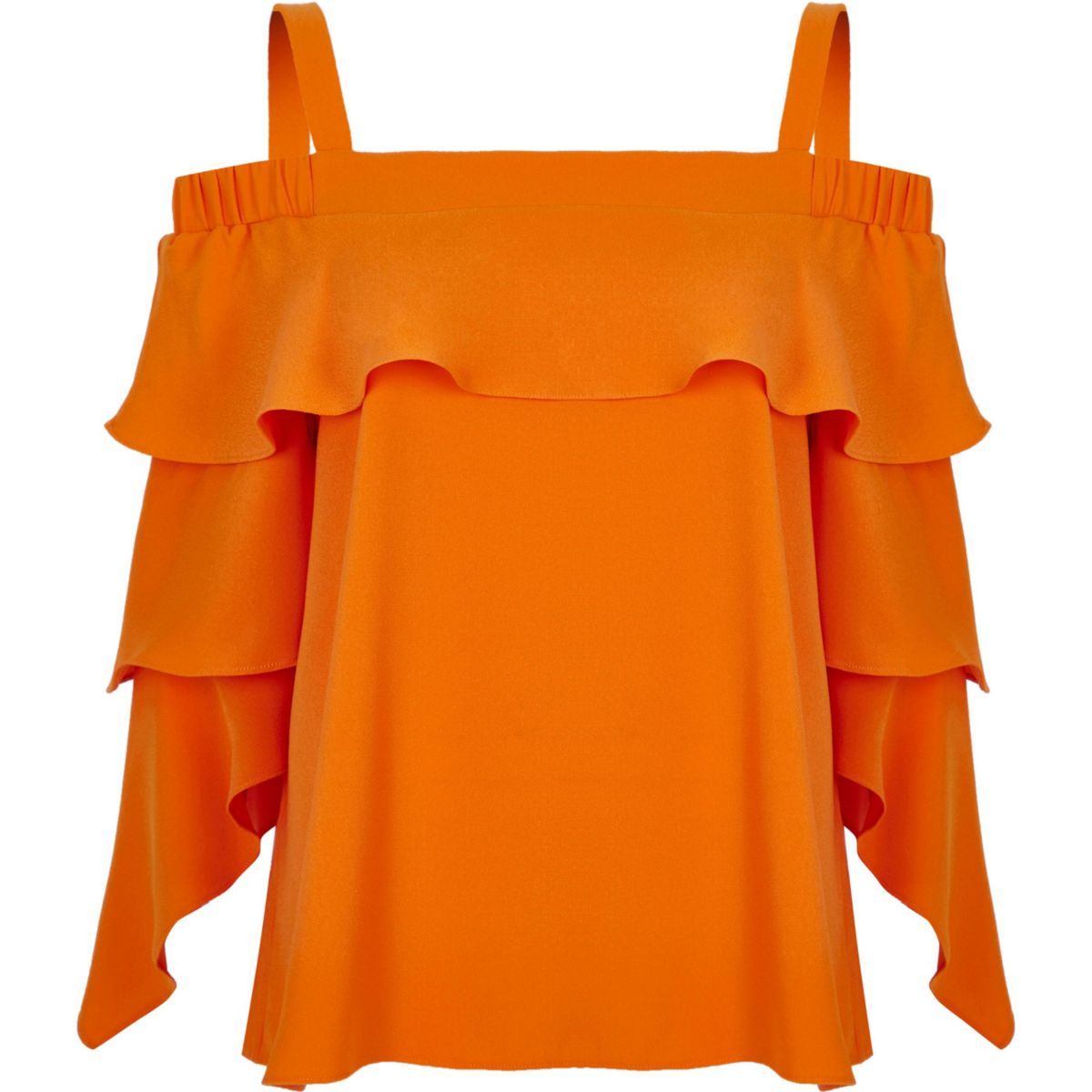 Orange frill sleeve bardot top