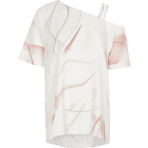 Pink print asymmetric cold shoulder top
