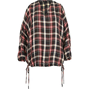 Red check cold shoulder drawstring hem top