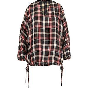 Red check cold shoulder drawstring hem top