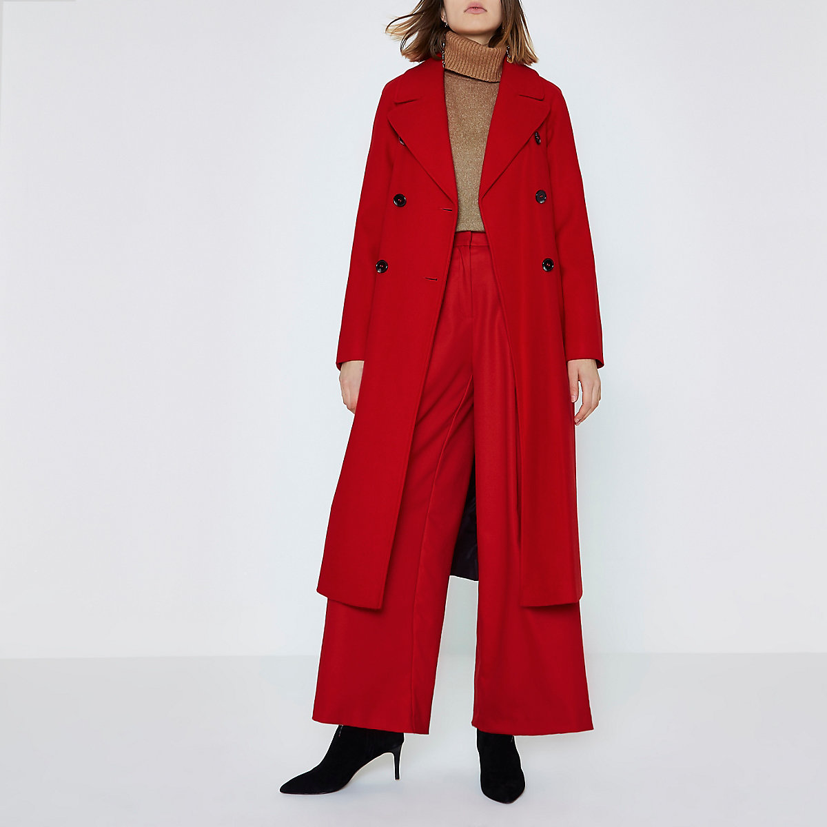 Bright red long double breasted coat