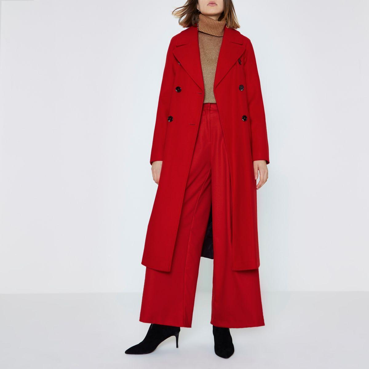 Helderrode lange jas met dubbele knopenrij