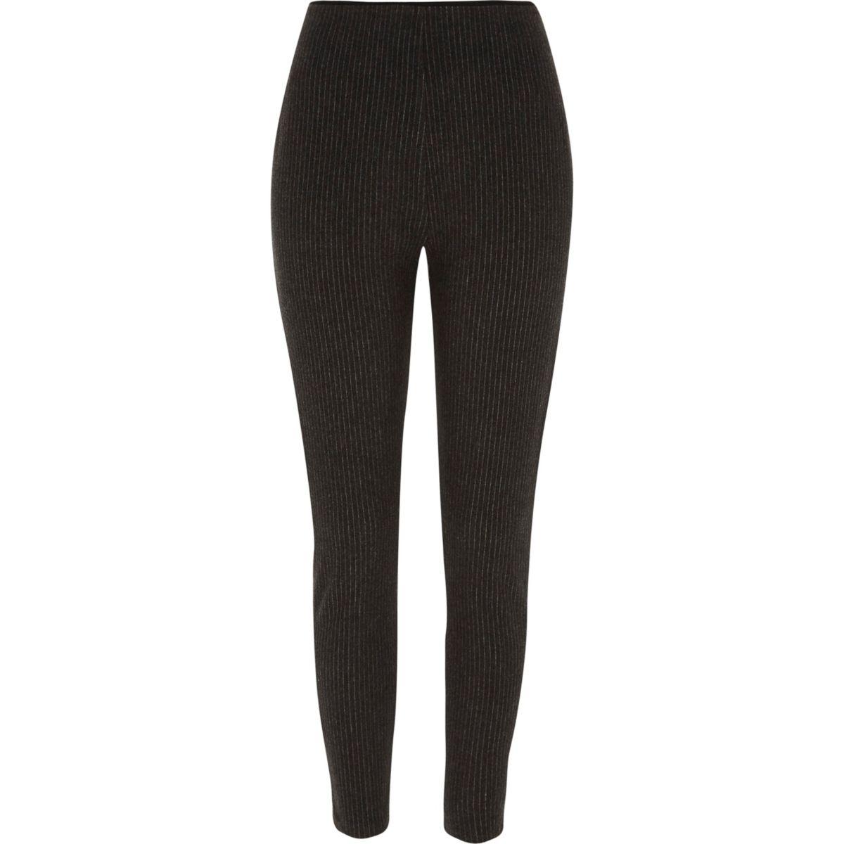 Grey stripe leggings