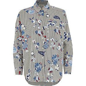 Chemise oversize rayée à fleurs bleue