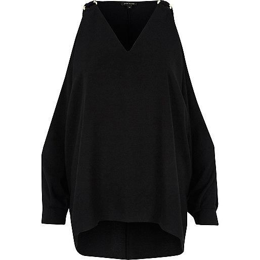 Zwarte schouderloze top met ringdetail