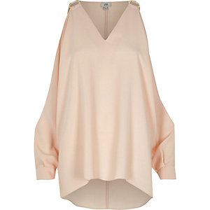 Beige cold shoulder ring detail top