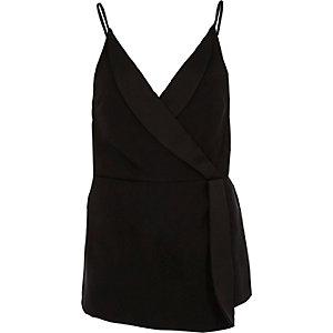 Black tuxedo style wrap cami top