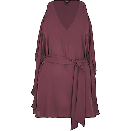 Dark red V neck wrap top