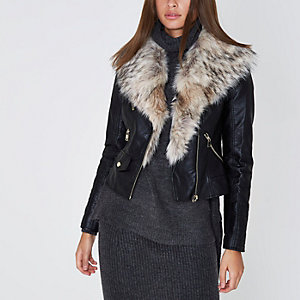 Black faux fur shawl biker jacket