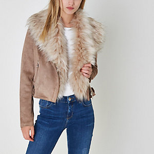 Brown faux fur trim faux suede biker jacket