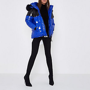 Blue colour block oversized puffer coat