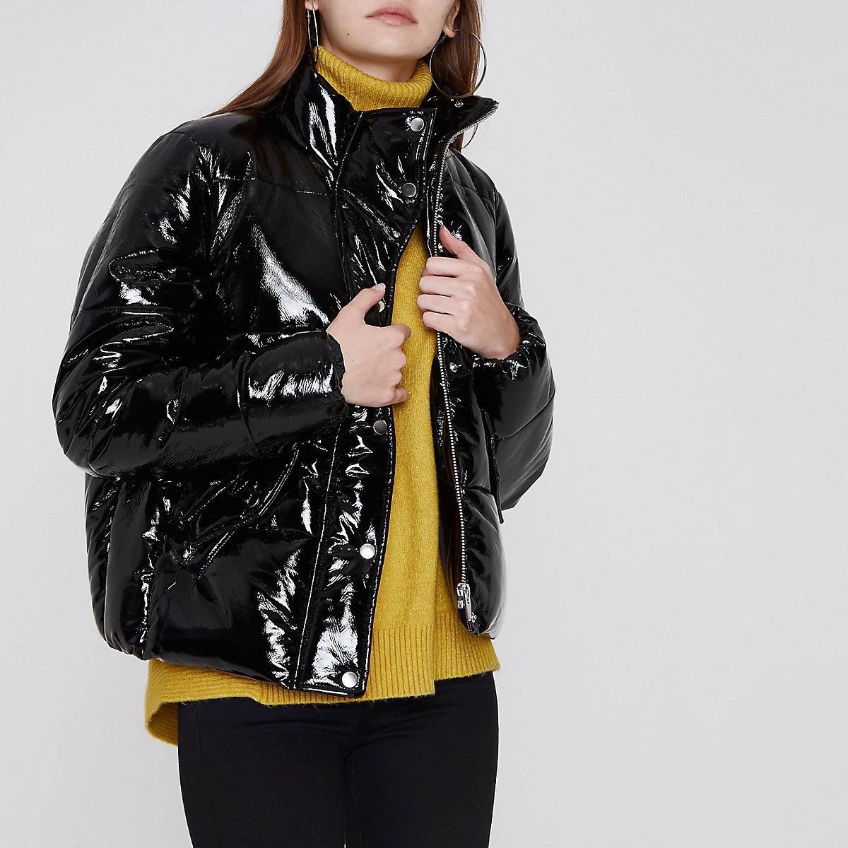 Black high shine puffer jacket