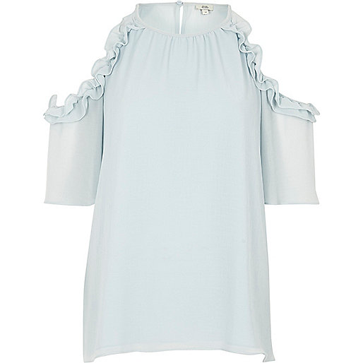 Light blue frill cold shoulder blouse