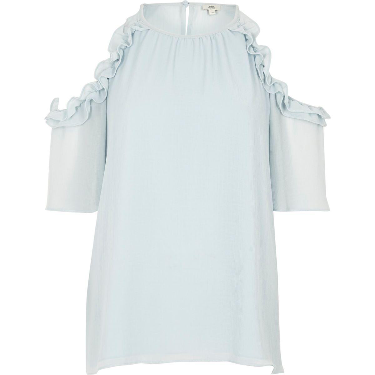 Light blue frill cold shoulder blouse