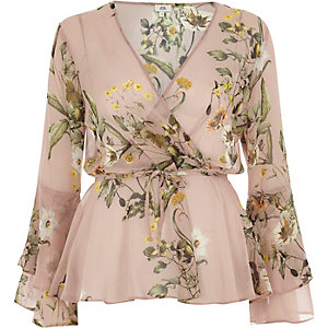 Pink floral wrap frill sleeve blouse