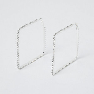 Silver tone cup chain square hoop earrings