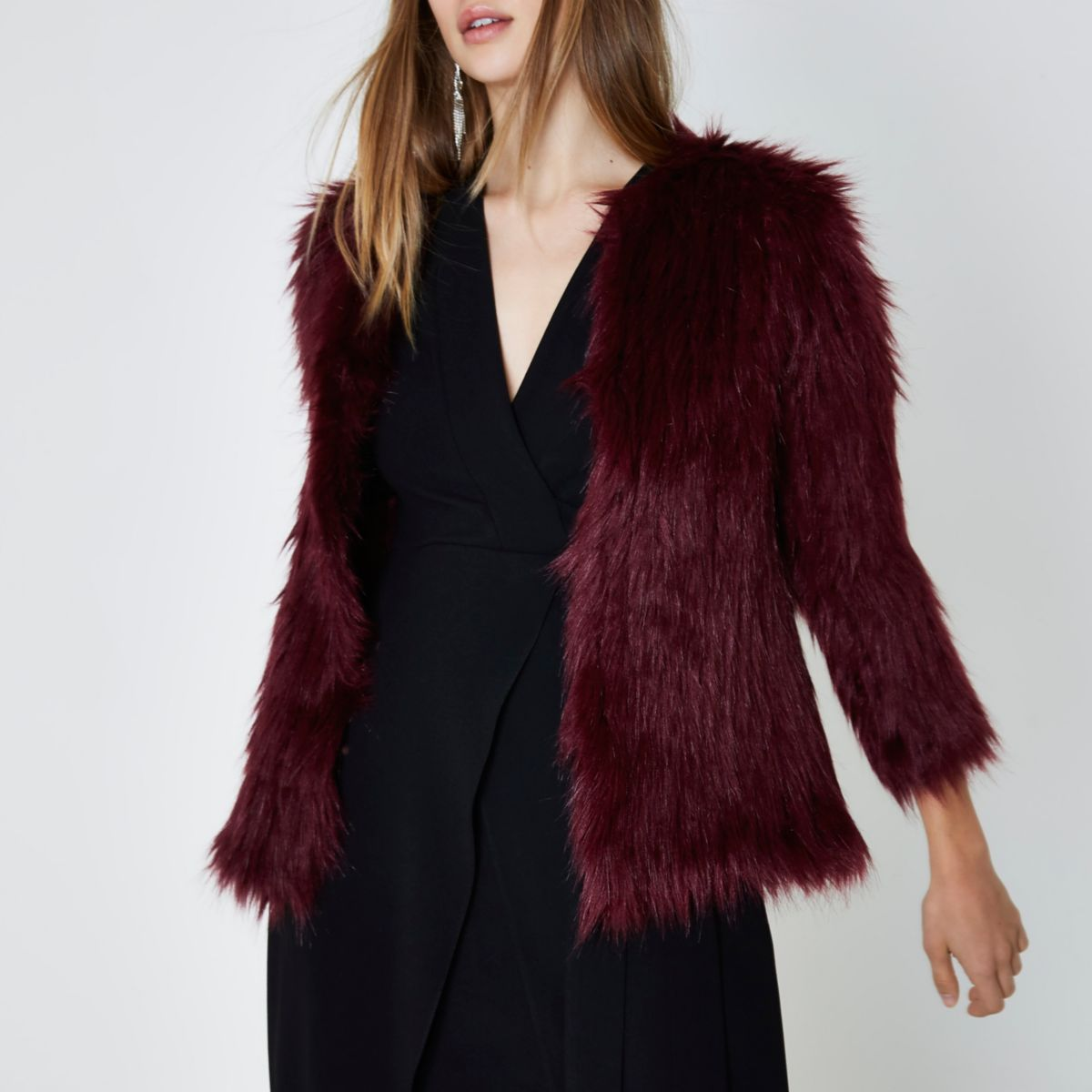 Dark red faux fur knit coat