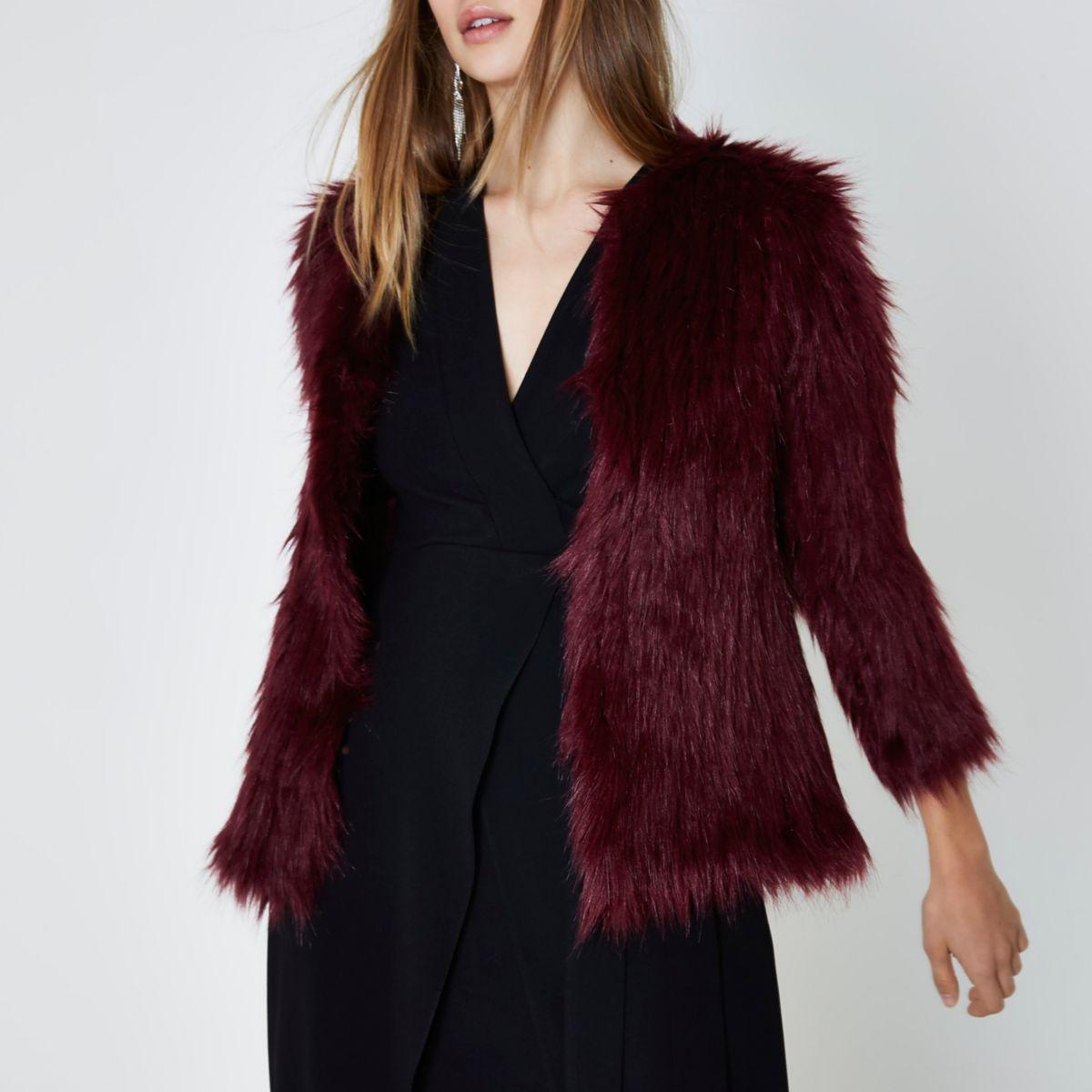Dark red faux fur knit coat