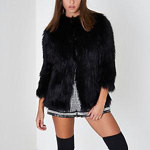 Black faux fur knit coat