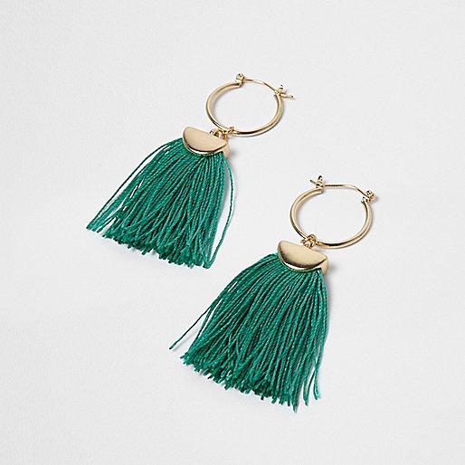 Gold tone green tassel drop earrings