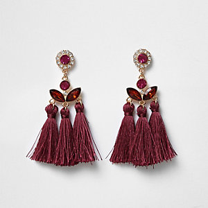 Dark red jewel embellished tassel earrings