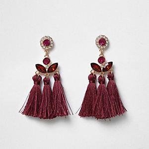 Boucles d'oreilles rouge foncé à pampilles ornées de pierres fantaisie