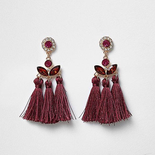 Dark red jewel embellished tassel earrings