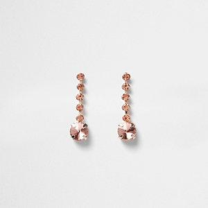 Pendants d'oreilles couleur or rose à chaînes