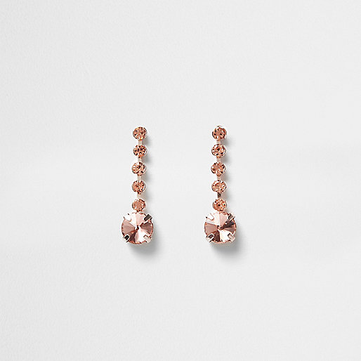 Rose gold tone cup chain drop earrings