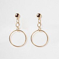 Gold tone chain hoop drop earrings