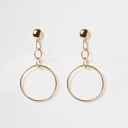 Gold tone chain hoop drop earrings