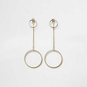 Gold tone hoop drop front and back earrings