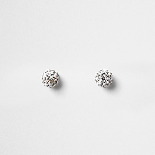 Silver tone diamante encrusted stud earrings