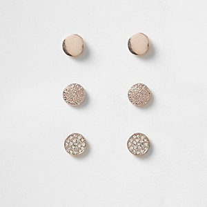 Rose gold tone diamante pave stud earrings