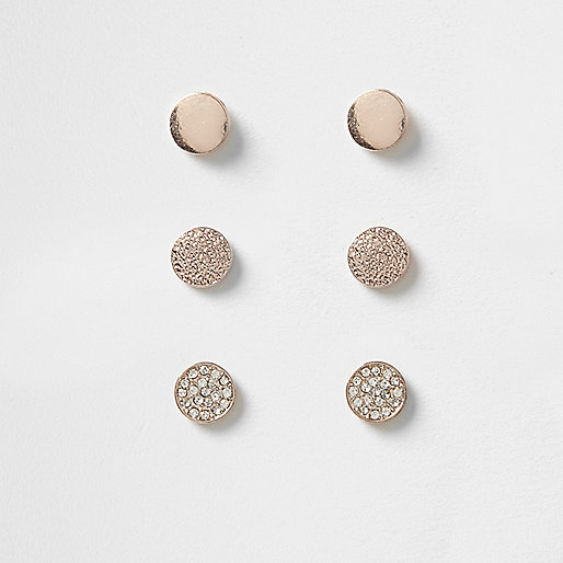Rose gold tone rhinestone pave stud earrings
