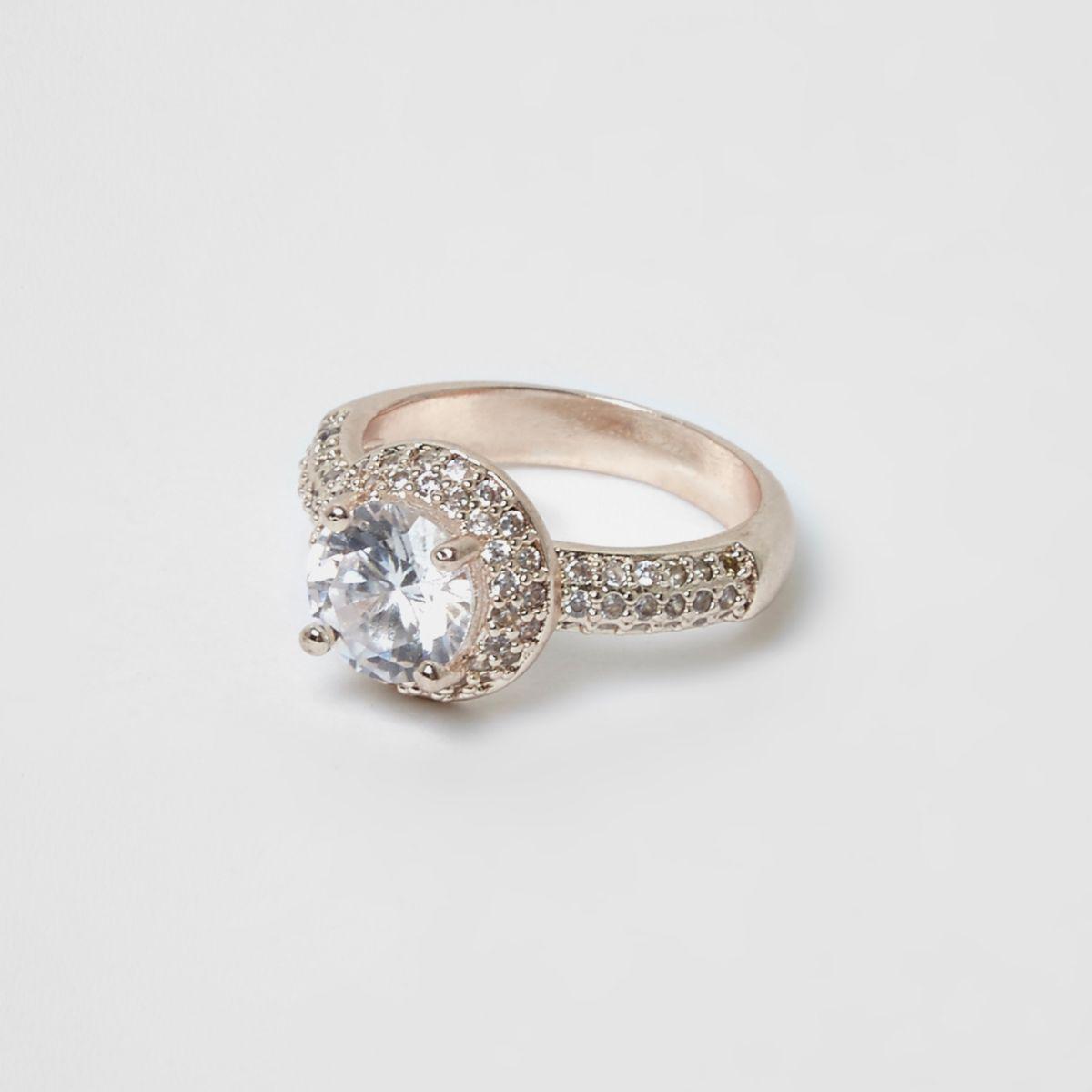 Rose gold diamante encrusted jewel ring