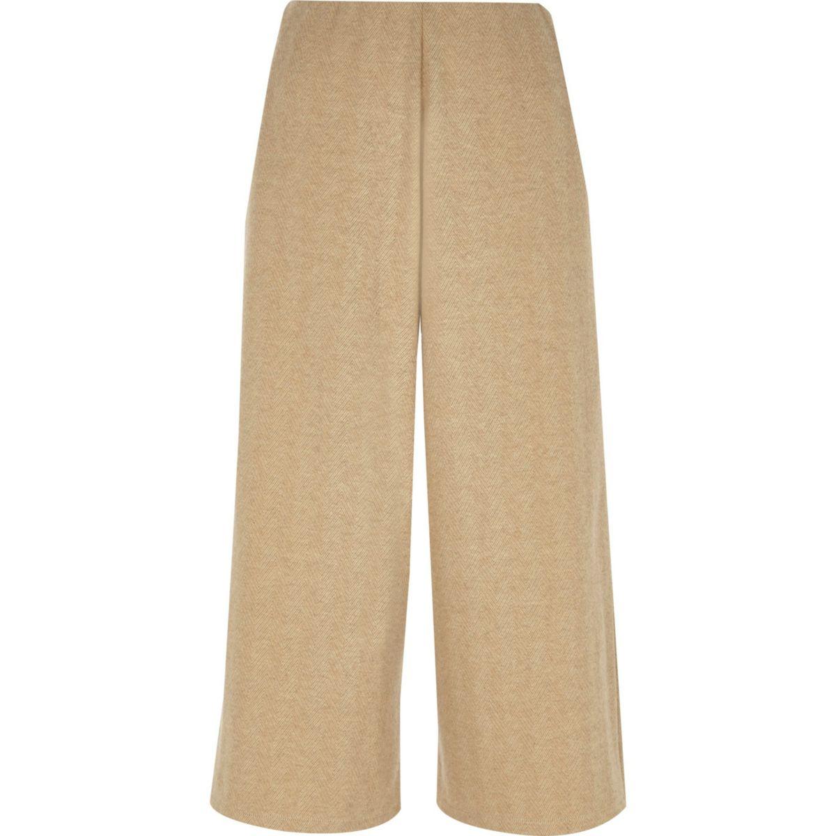 Jupe-culotte beige à chevrons