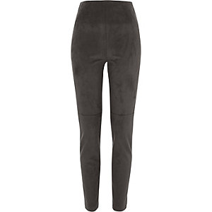 Dark grey faux suede skinny pants