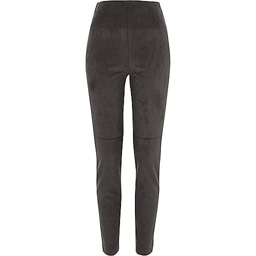 Dark grey faux suede skinny pants