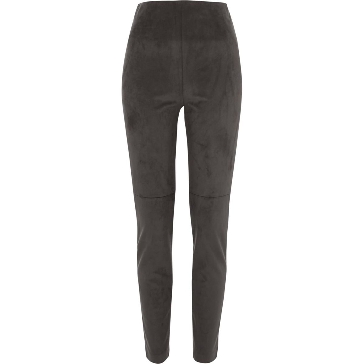 Dark grey faux suede skinny trousers