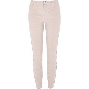 Molly – Pantalon skinny en velours côtelé beige clair