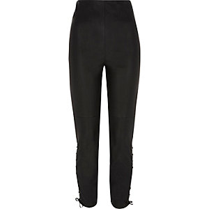 Black faux leather lace-up trousers
