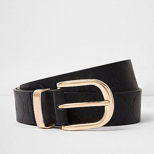 Black RI embossed jeans belt
