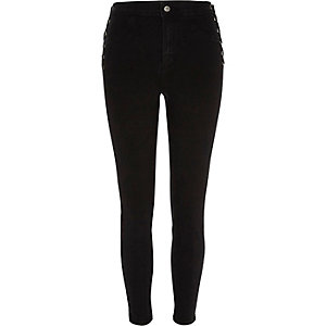 Black Molly lace-up side skinny jeans