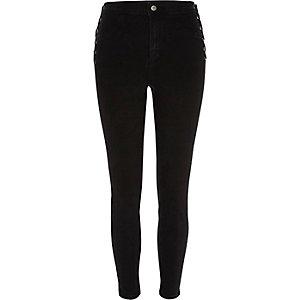 Molly - Zwarte skinny jeans met vetersluiting opzij